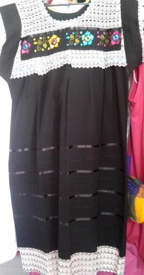 Vestido Negro Artesanal 100% Bordado A Mano