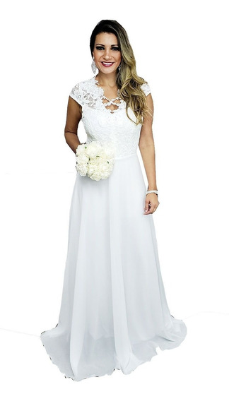 Vestido De Noiva Casamento Civil, Praia, Campo, Simples