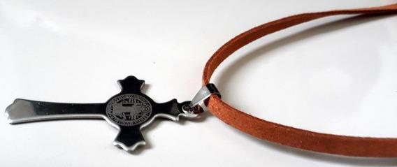 Colar Crucifixo São Bento (caramelo)
