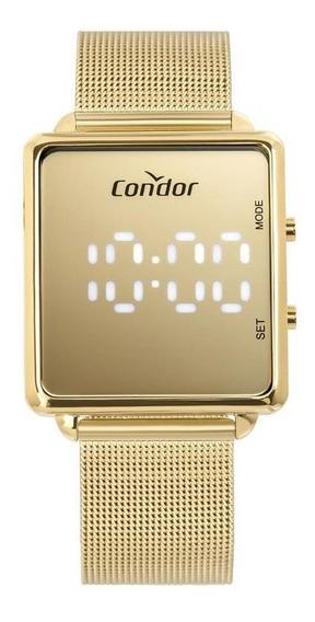 Relógio Condor Digital Dourado Cobj3382aa4d Espelhado