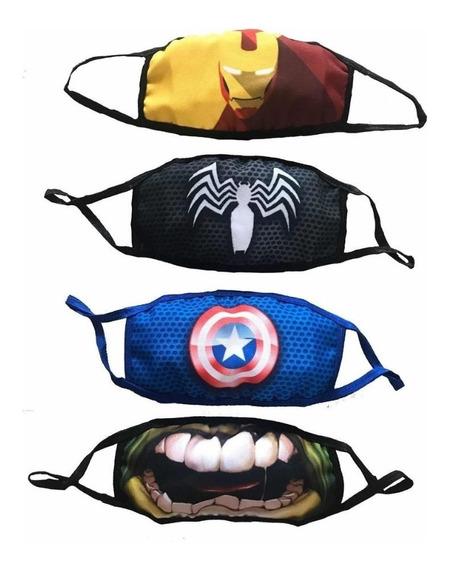 Cubrebocas Marvel Infantil 1pz Spiderman Ironman Cap America