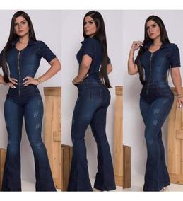 Macacão Jeans Feminino Flare Longo Com Lycra