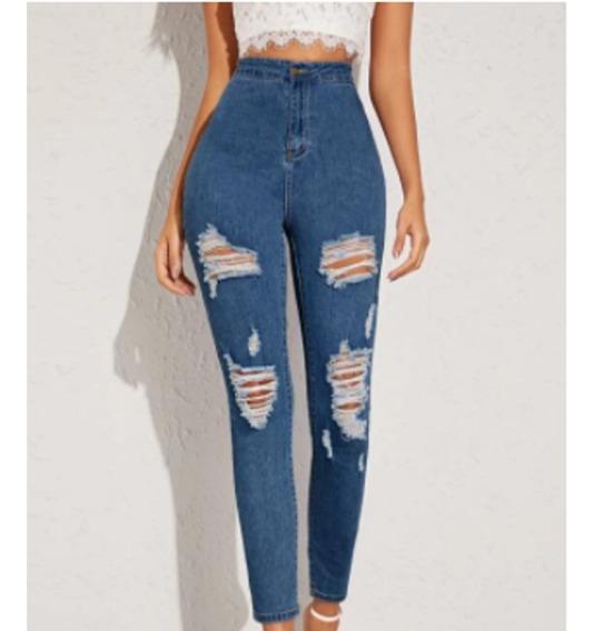 Pantalon Jeans Mezclilla Tiro Alto Entubado Mujer Strech Mercado Libre