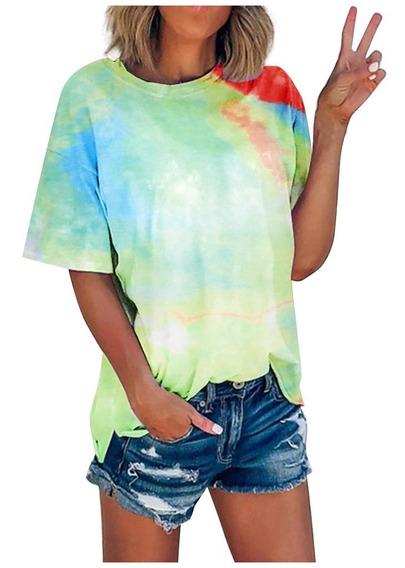 Camiseta Feminina Com Tie-dye Manga Curta Gola Redonda Casua