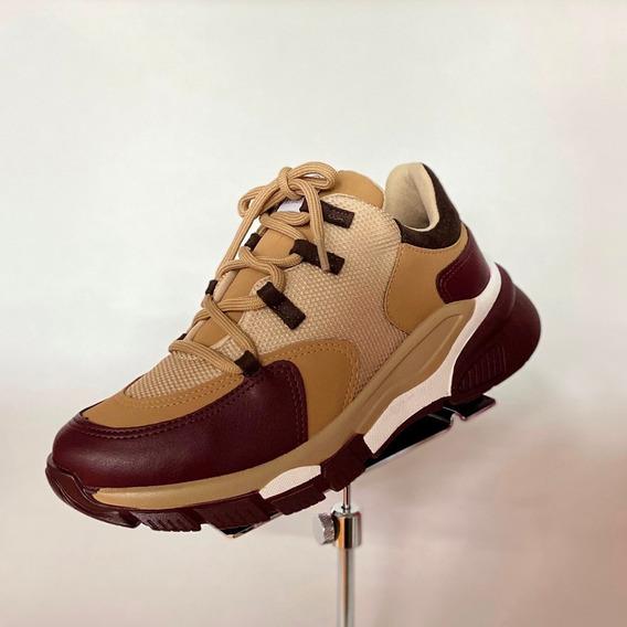 Tênis Via Marte Sneaker Bordô Marrom Claro Lançamento - At