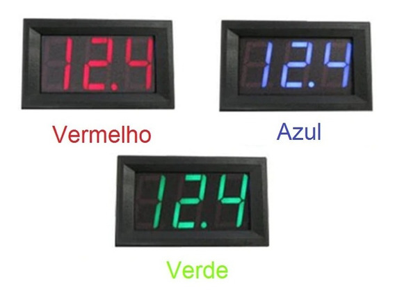 Voltimetro Digital Automotivo 3 Fios P/ Painel Led Ref 010