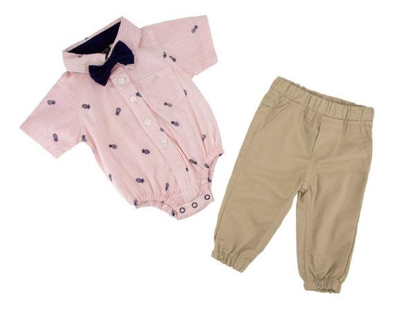 Conjunto Pañalero Y Pantalón Con Moño Desmontable 04710