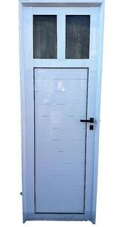 Puerta De Aluminio Blanco Reforzada 70x200 1/4 De Vidrio