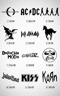 Paq 5 Sticker Calcomanías Vinil Música Rock Metal Decorativo