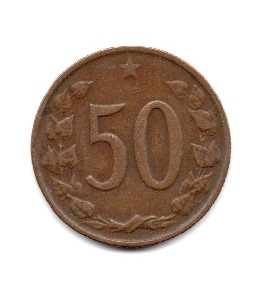 Checoslovaquia Moneda 50 Haleru Año 1964 Km#55.1