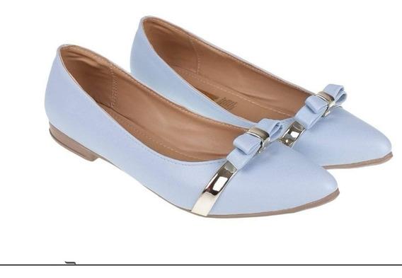 Flats Azul Cielo Balerina Moda Casual Mujer Moderna