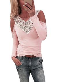 Mulheres Sensual Blusa Renda Emenda Frio Ombro V Pescoço Lon