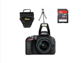 Câmera Nikon D5600+18-55+32gb+bolsa+mini Tripé
