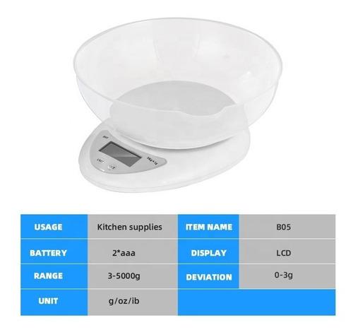 Gramera Balanza Bascula Digital Cocina 5 Kg Ty-5 + Baterías
