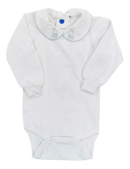 Body Bebê Com Gola Bordada Coelho Azul - Picnic