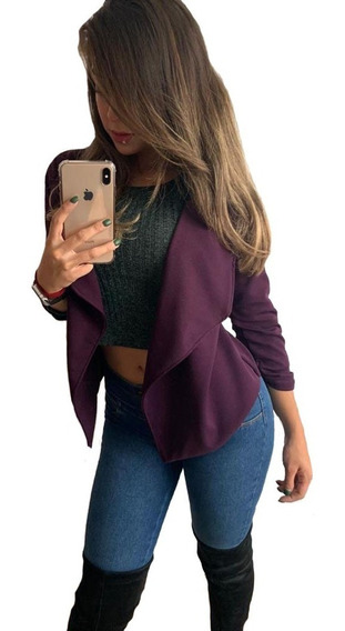 Saco Blazer Cardigan Mujer Corto Dama Abierto Oficina, Sexy