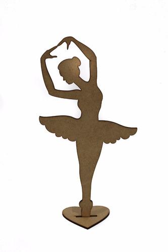Imagem 1 de 2 de 20pçs Bailarina 30cm Decoração Festas Centro De Mesa Mdf Cru