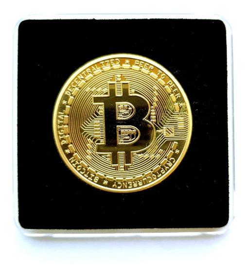 Moeda Fisica Bitcoin Detalhes Alto Relevo Coleçao ( Estojo )