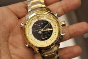 Relógio Dourado Esportivo