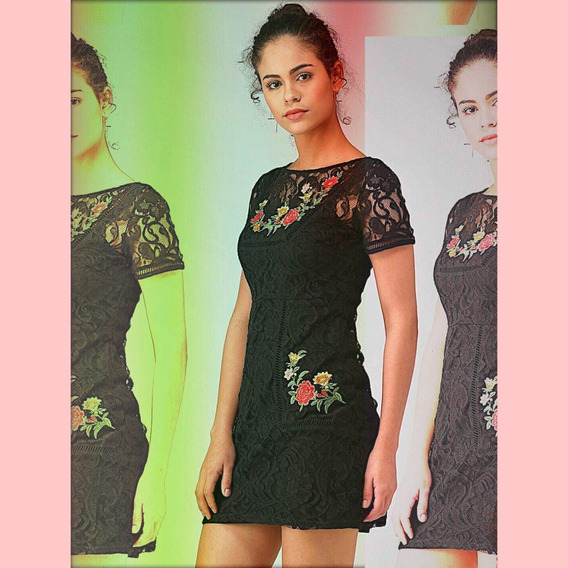 Forever21 Vestido Fiesta Chochet Y Bordado Floral L Chico