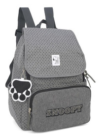 Mochila Escolar Feminina Snoopy Cinza Ms45613sn