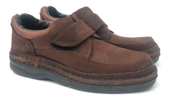 Zapato Super Confort Cuero Hombre Cordon Abrojo Promoción