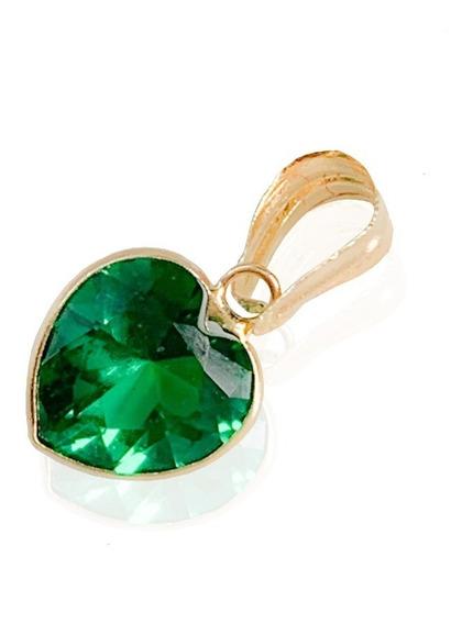 Pingente Coração Pedra Zircônia 6mm Verde Esmeralda Ouro 18k