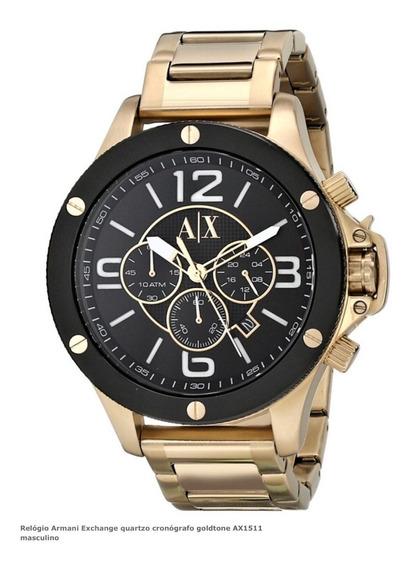 Relógio Masculino Armani Exchange Aço Dourado Preto Ax1511