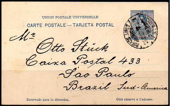 Argentina 1921. Tarjeta Entero Postal 5c Azul, San Martín