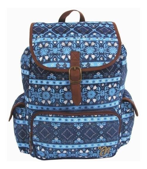Mochila Capricho Etnic Blue 10992 Escolar Original Bra