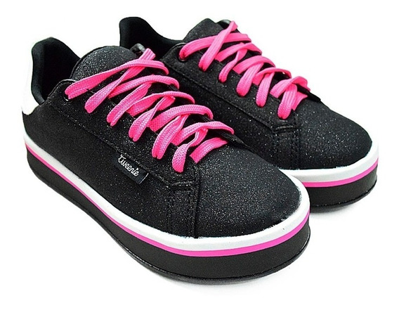 Tenis Feminino Tweenie #mix Preto De Listras Pink 505026