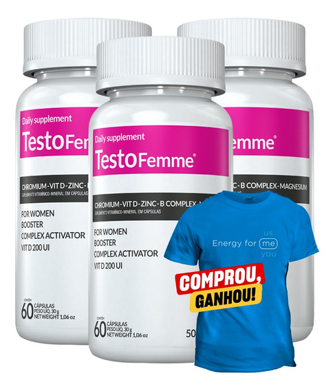 03 Testofemme 500mg Inove 60 Cápsulas - Testosterona Mulher