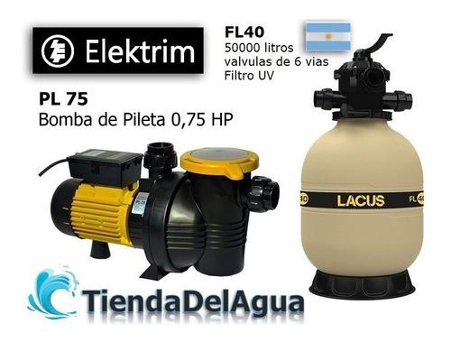 Imagen 1 de 6 de Combo Filtro 50000 Litros + Bomba Pileta Pl 75 3/4 Hp Oferta