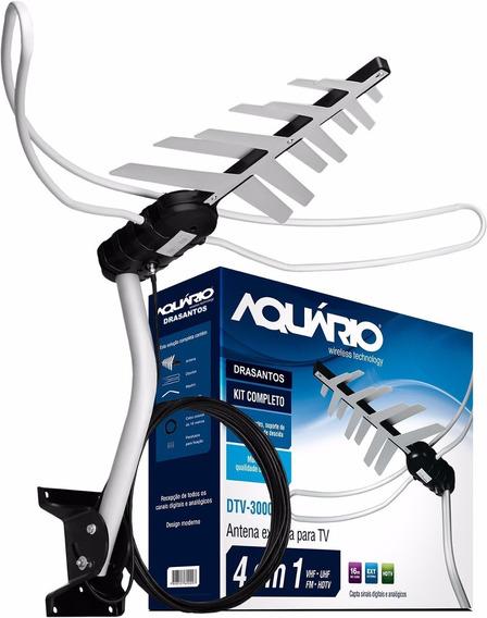 Antena Externa Digital Aquario Dtv3000 Com Cabo E Suporte