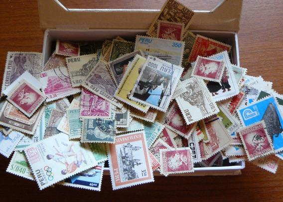 Caja 16x11x3 Repleta De Estampillas De Perú