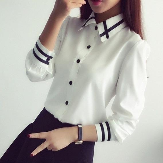 Camsia Blusa Coreana Listrado Social Feminina Importada