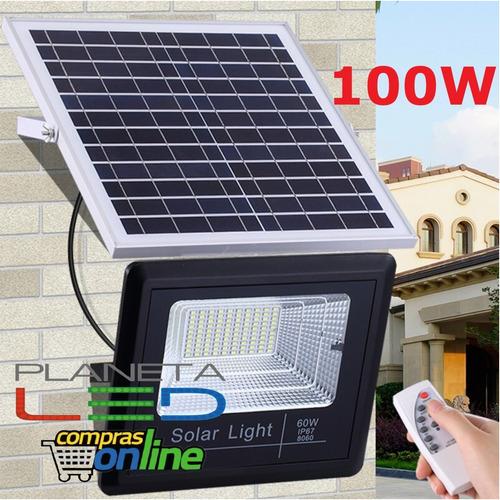 Reflector Led Con Panel Solar 100w +control Programable Ip67