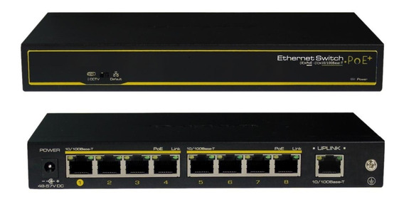 Switch Cctv Ethernet Poe+ 8 Downlink + 1 Uplink Marca Cygnus