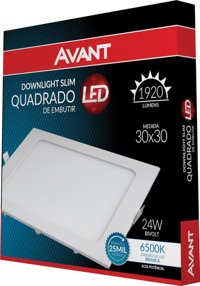 Painel Led Embutir 24w Quadrado Branca Ip20 Bivolt Avant
