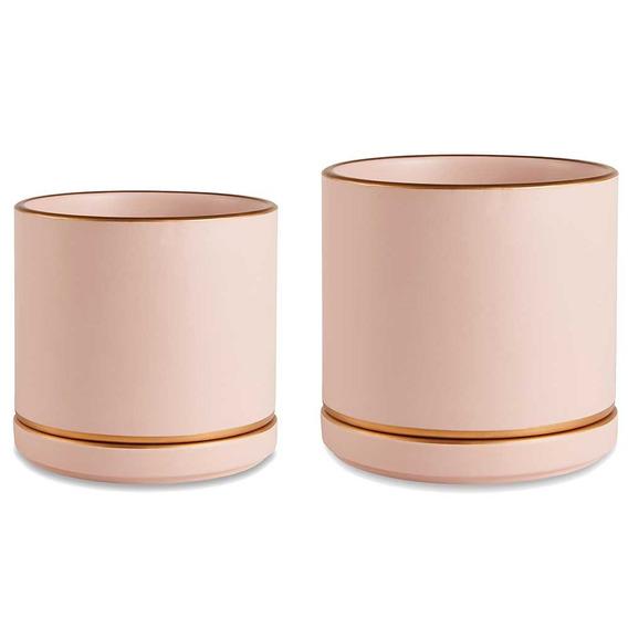 Conjunto De Cachepot Em Cerâmica Rosa Com Dourado