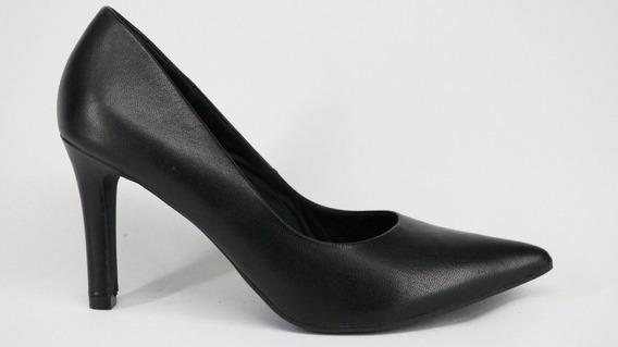 Sapato Scarpin Usaflex Couro Salto Fino Preto E Areia