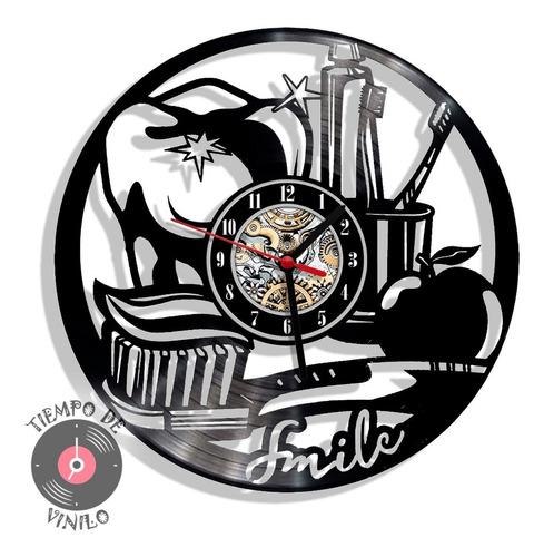 Reloj De Pared Elaborado En Disco Lp Ref. Odontología