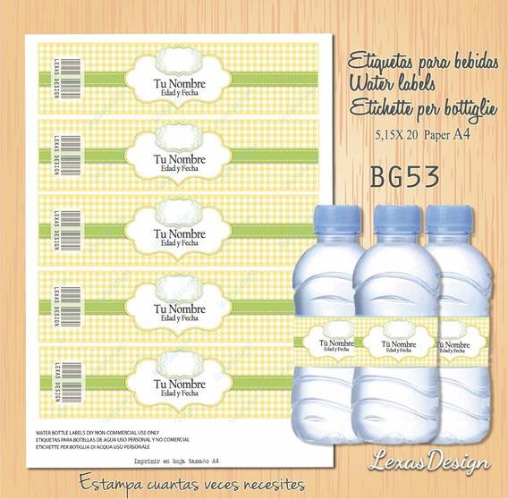 Etiquetas Botellas Bebidas Candy Bar,pdf Bg53