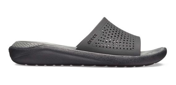 Sandalia Unisex Crocs Literide Slide Negro / Gris