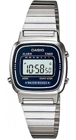 Relogio Casio La670 Wa-2df Cronometro Alarme Timer Wr Azul