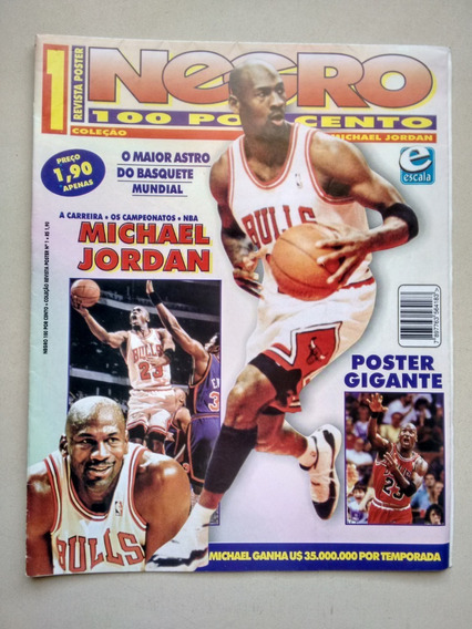 Revista Pôster Negro 100 Por Cento Michel Jordan Nba D229