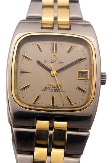 Omega Constellation Aço E Ouro Maciço 18k Relogio Automatico Chronometer Calendario Segundeiro Tinge Assinado J21693
