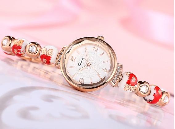 Relógio Pulseira Em Porcelana Chinesa Pintado A Mão