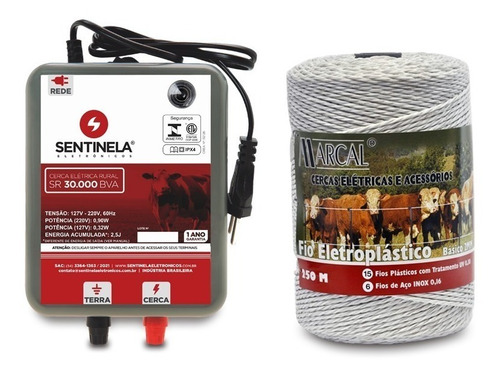 Kit Cerca Elétrica Rural Eletrificador Sr 30  + Cabo 250m