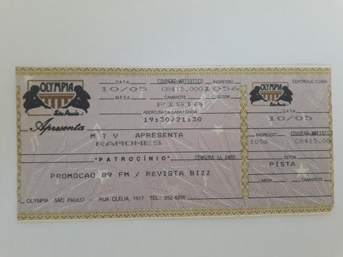 Ingressos Shows Ramones Em São Paulo  1992 E 1994